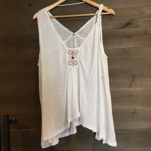 FREE PEOPLE Bead Crochet Flowy Hi Lo Tank Top
